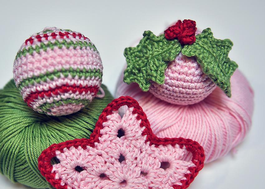 Adornos de Navidad de ganchillo - Patrón de bola multicolor